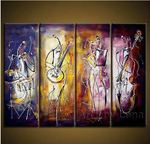 music party! Handmade Modern abstract 4 piece wall oil painting on canvas art picture musicians Concert cheap decoration art set(China (Mainland))
