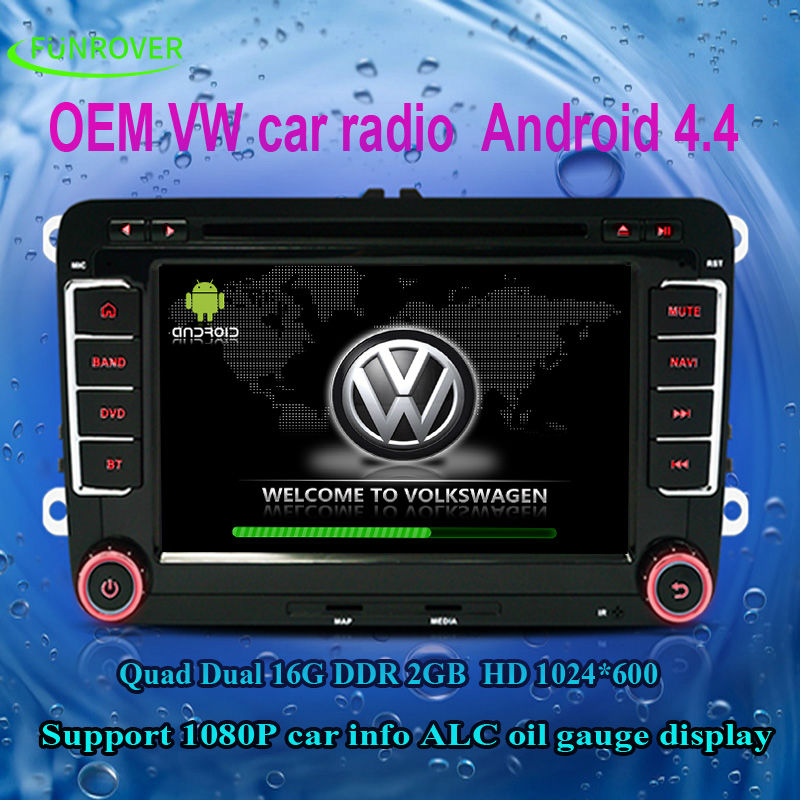 VW/Skoda/Seat Series Quad Core HD Touchscreen Android 4.4 Double Din In Dash Car DVD Player ISO plug Stereo RDS USB Navigation(China (Mainland))