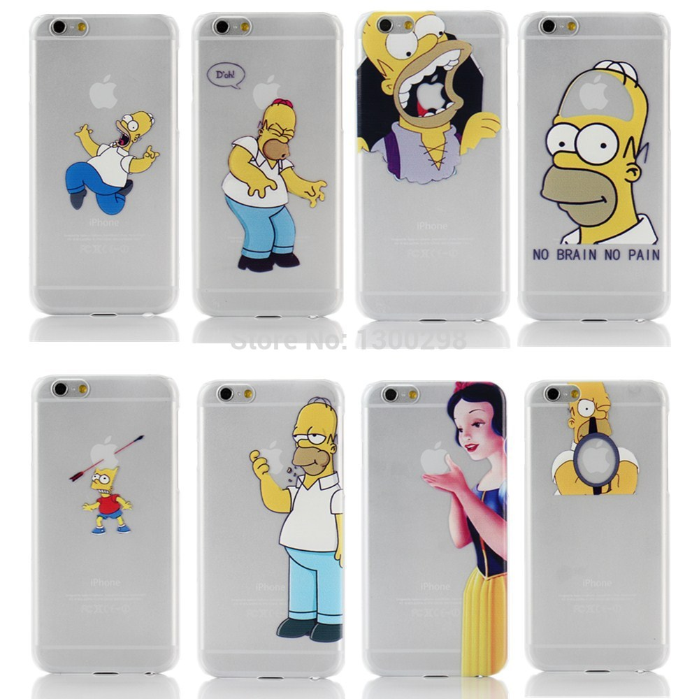 2014 New arrive 22 stylel For Apple iphone 6 case Transparent Snow White simpson Hand grasp the logo cell phone cases covers(China (Mainland))