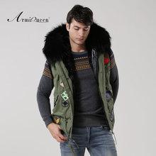 New Fashionable fur big hooded Vest jacket men badge beading winter fur vest male(China (Mainland))