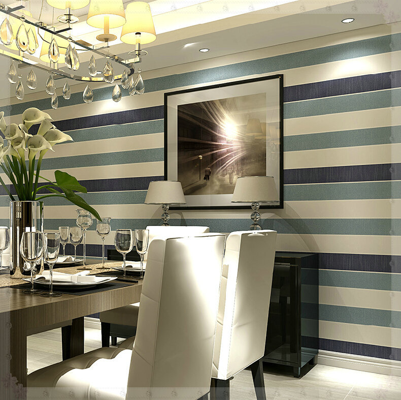 Simple color wide vertical stripes wallpaper bedroom living room restaurant covered with non-woven background wallpaper green ba(China (Mainland))