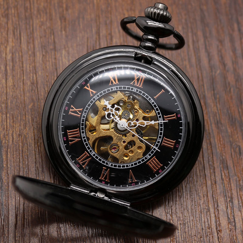Antique Magic Roman Half Hunter Black Steel Hollow Skeleton Hand Wind Mechanical Pocket Watch Long Chain Value Quality(China (Mainland))
