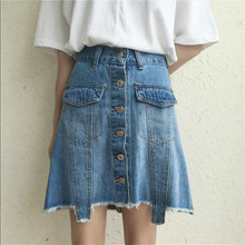 High Quality Fashion 2016 Summer New Arrival Women Denim Front Button Jeans Skirts Casual High Waist Female Mini A-line Skirt