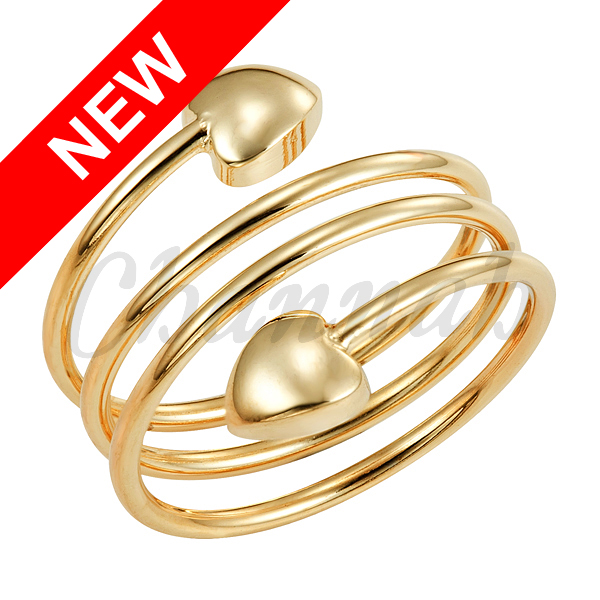 2016 Women 18K Gold Spring Magnetic Ring Golden Heart Size Resizable Female Magnet Ladies Jewelry Free Shipping Hong Kong Post(China (Mainland))