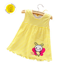 100% Cotton Summer Retail Baby Girls Dress Infant Clothing Sleeveless Printed Embroidery Baby Girl Dress Summer Clothes