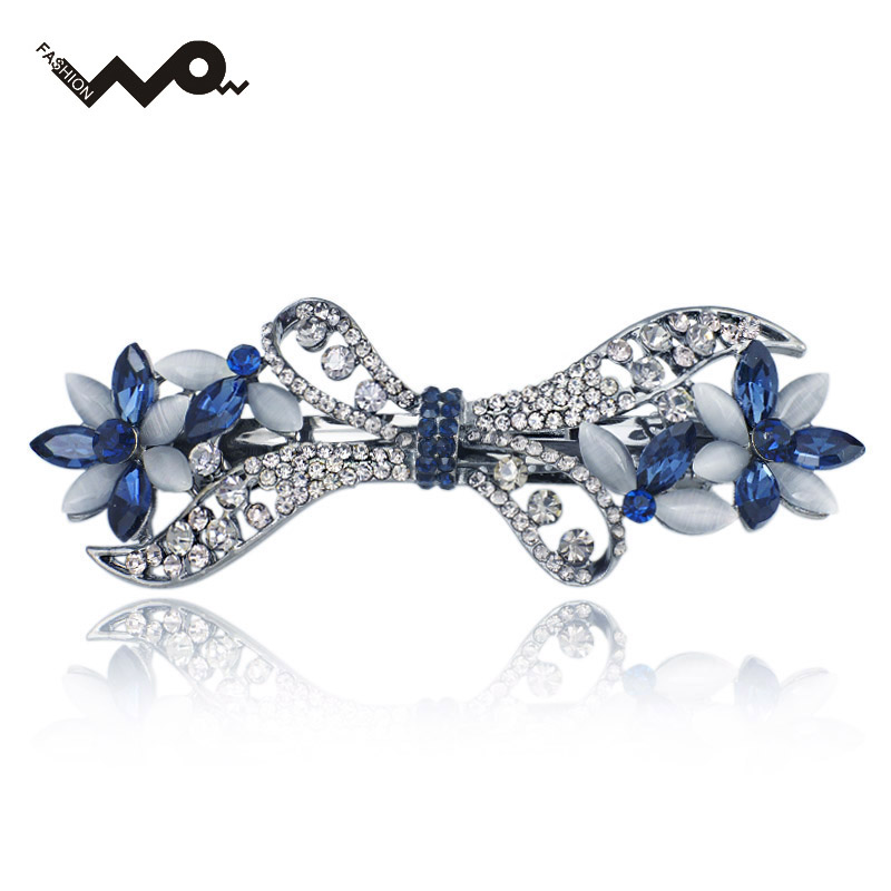 Exquisite Opals Crystal Flower Bowknot Rhinestone Hair Clip Barrette Hairpin Headwear Accessories Jewelry For Woman Wedding 135(China (Mainland))