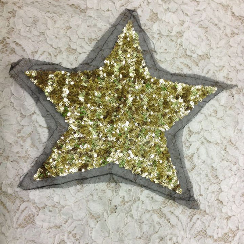3pcs Star Sequined Patch For Clothing Embroidered Biker Patches Crafts Dress Blouse Shirt Motif Applique Badge parches militares(China (Mainland))