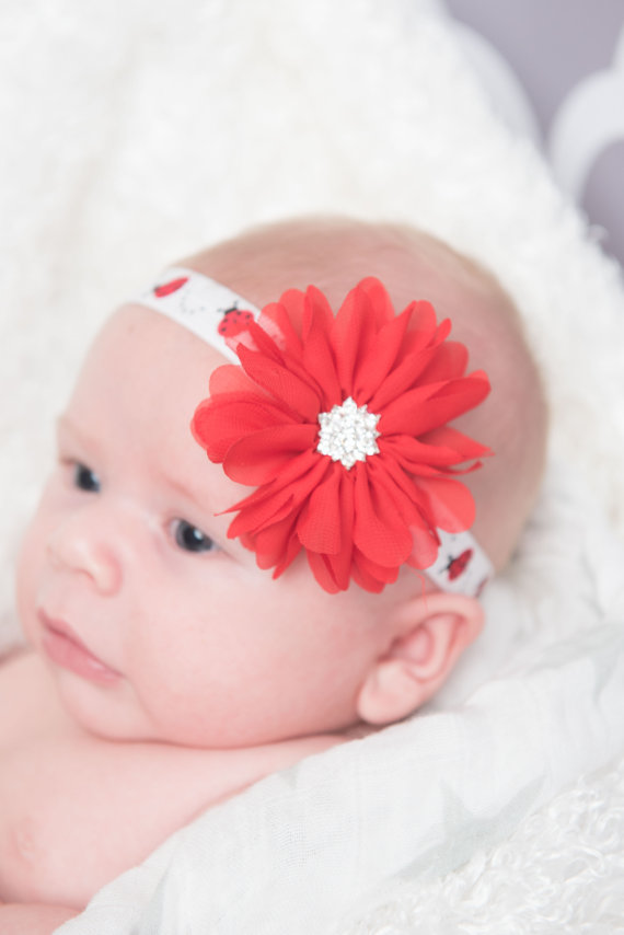 ladybug Red elastic flower infant Baby girl headband for women toddler hair clip accessories wedding hairpins birthday barrettes(China (Mainland))