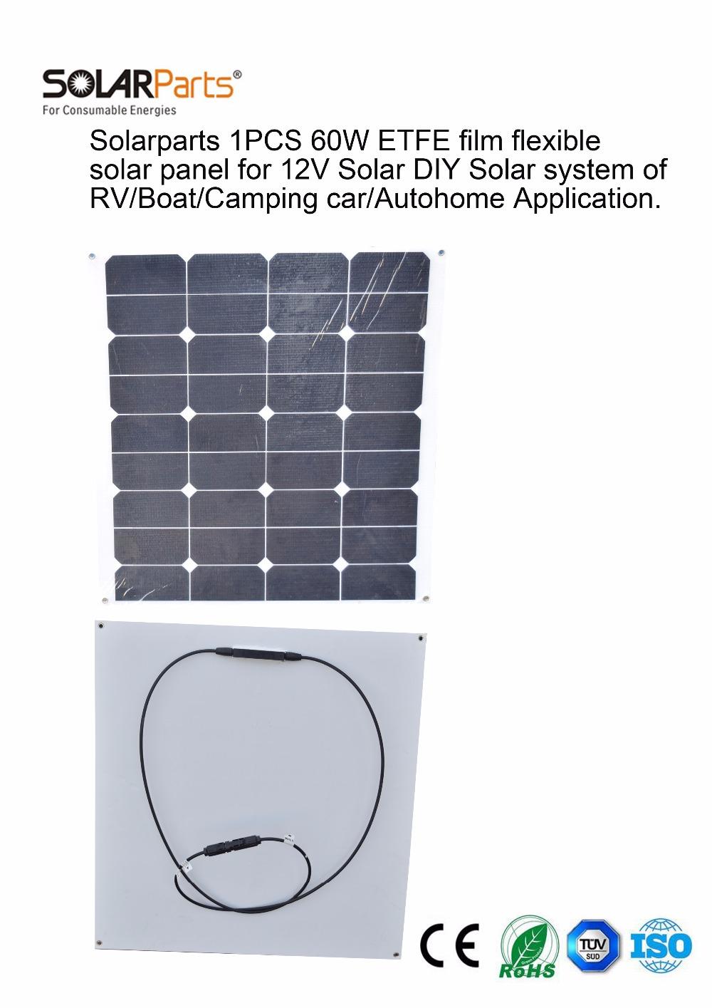 Solarparts 1x 60W ETFE film flexible solar panel 12V solar system solar cell marine yacht boat RV solar module for battery cheap(China (Mainland))