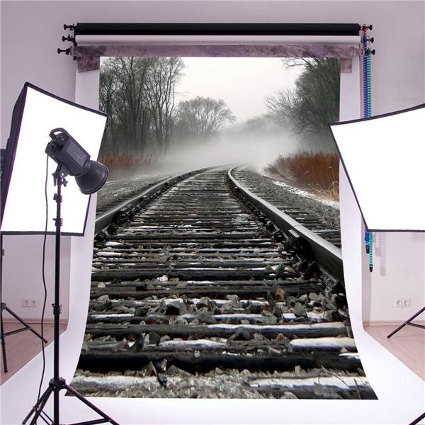 Railway photography background stand photo props vinyl 5x7ft for studio backdrops retro train