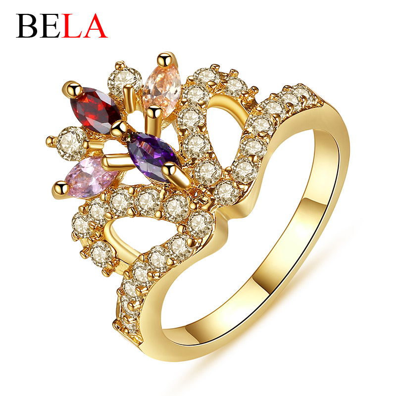 Free Shipping Crystal Crown Rings with Micro Pave CZ Diamond 18K Gold Plated Luxury Bridal Rings for Wedding Jewelry Gift(China (Mainland))