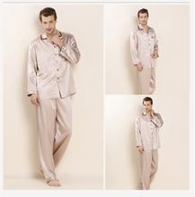 100% Real Silk Man's Pajama Sets Man Pyjamas Lovers Sleepwear 2016 New Lounge Sets Spring Gifts Turn down Collar AU80032(China (Mainland))