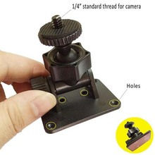 "Black 360 Degree Rotating 1/4"" Screw Car Camera Mount 3M Sticker DVR Holders  Bracket with Hole Drop Shipping"