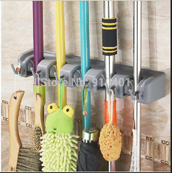 Hot Sale Wholesale And Retail Promotion Multifunction 5 Position Bathroom Mop & Broom Holder Home Cleaning Tool W/ Hooks(China (Mainland))