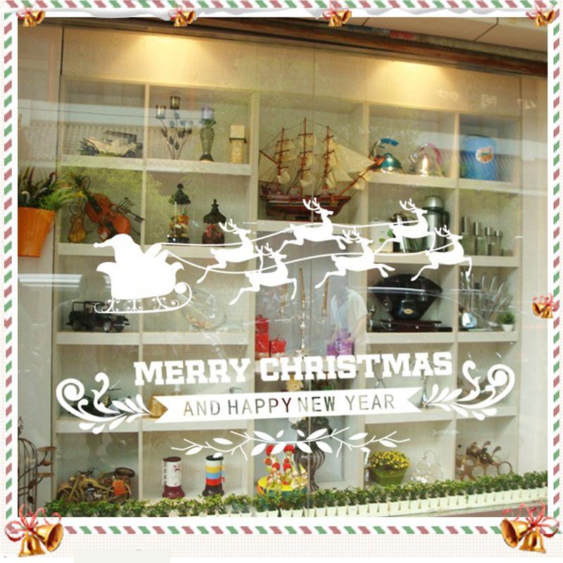 2015 Superb Christmas Wall Sticker New Year Pvc Wall Stickers White Home Decor Santa Claus Kids