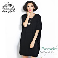 Summer Style Plus Size T Shirt Dress Women's Clothing Fashion Tee Casual Cotton Dresses Solid Loose Oversize Female Tops T-Shirt(China (Mainland))