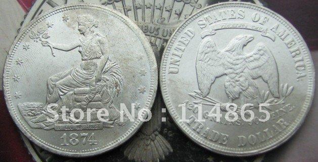 Copy coin 1874/p Trade Dollar copy coin 5 1924 russia medals