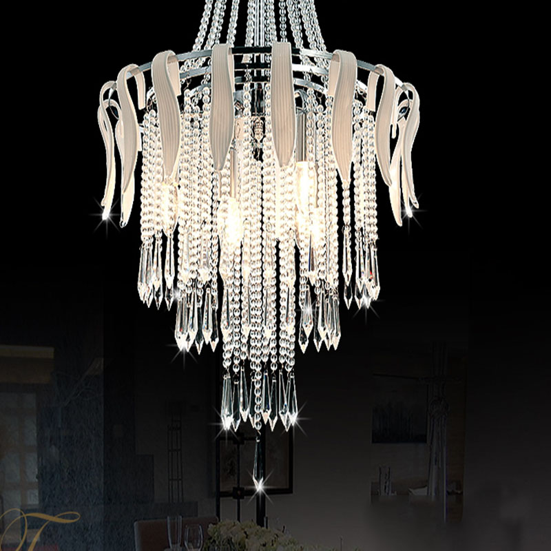Modern White Crystal Ceiling Light Fixture Crystal Hanging Light Glass Suspension Drop Lamp<br><br>Aliexpress