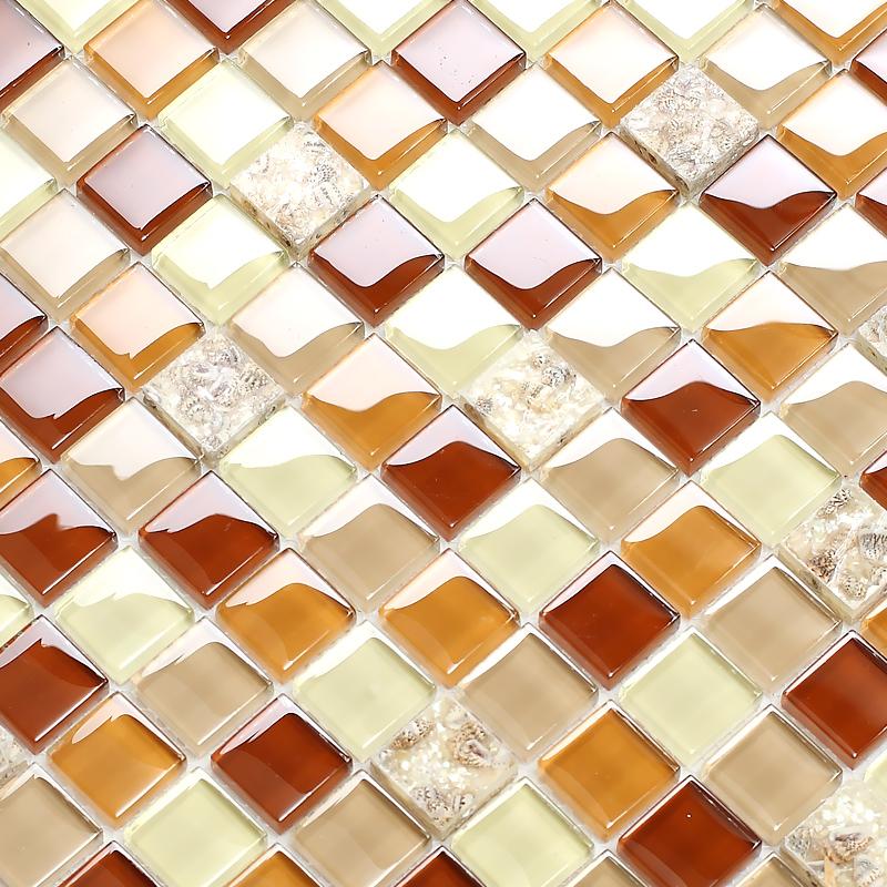 buy brown crystal glass mixed sea shell