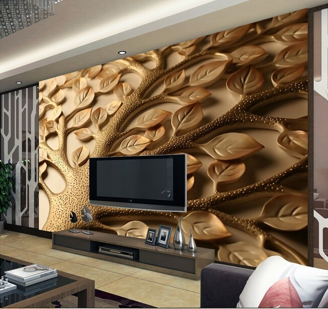 3d wallpaper mural leaves tree wall paper background for Custom size wall mural