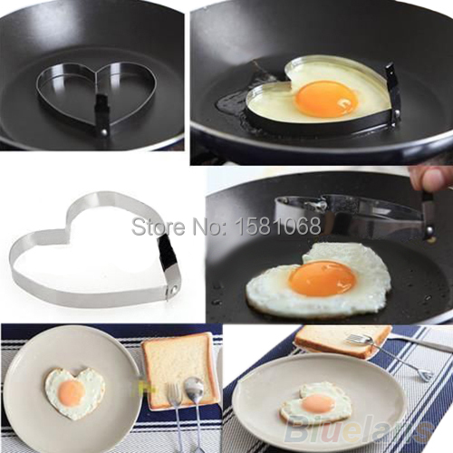 Cook Fried Egg Pancake Stainless Steel Heart Shaper Mould Mold Kitchen Tool Rings 1O5V(China (Mainland))