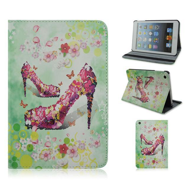 P890 For iPad 2 3 4 High heels with a variety of colors Painting Leather Cover Case Display Elastic Belt TX4A92(China (Mainland))