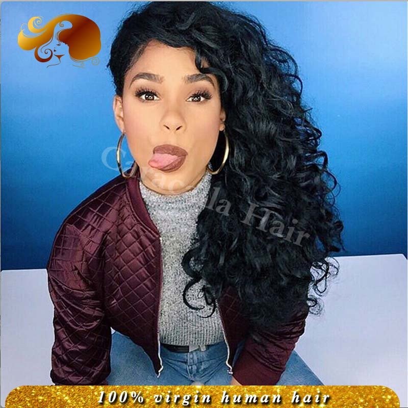 Фотография Best Human Hair Loose Curly Lace Front Human Hair Wigs Bleached Knots Brazilian Virgin Hair Full Lace Wigs For Black Women