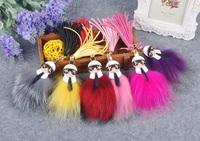 Fashion gift monster Dolls tassel rabbit fur ball Pom pom Key chains keychain Woman bag handbag car charm golf bag cart Pendant