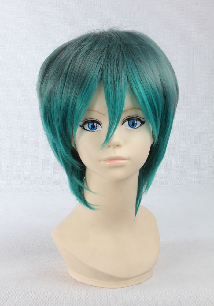 Sexy green Ombre Wig Cheap Men Women Synthetic Hair Perucas Cosplay Anime Harajuku Wigs Two Tone Short straight Haircut(China (Mainland))