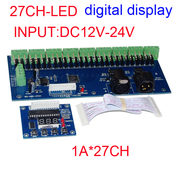 Easy 27CH dmx512 decoder,27 channel dmx512 controller, 9groups RGB output,each channel max 3A,LED DMX drive,Digital display<br><br>Aliexpress
