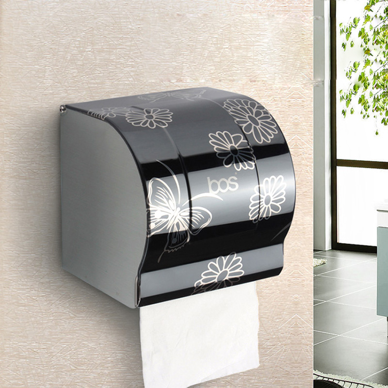 Modern Bathroom Accessories Black Painting Surface Brass Toilet Paper Holder Paper Box Wall Mounted(China (Mainland))