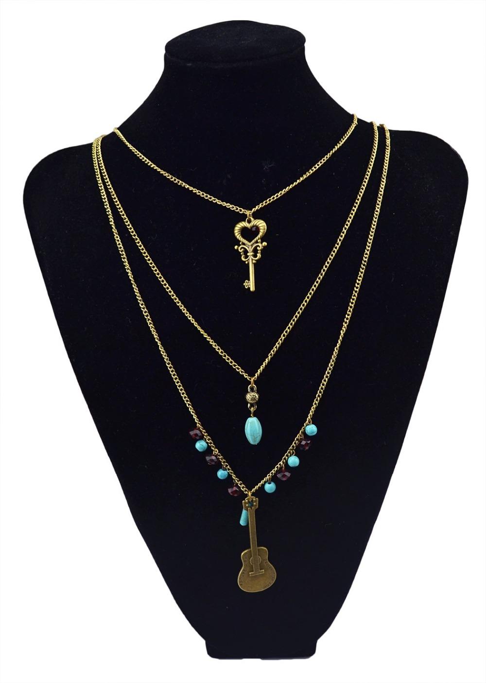 New Fashion European Multilayer Retro Bronze Keys Guitar chain Rhine stone Pendant Necklace(China (Mainland))