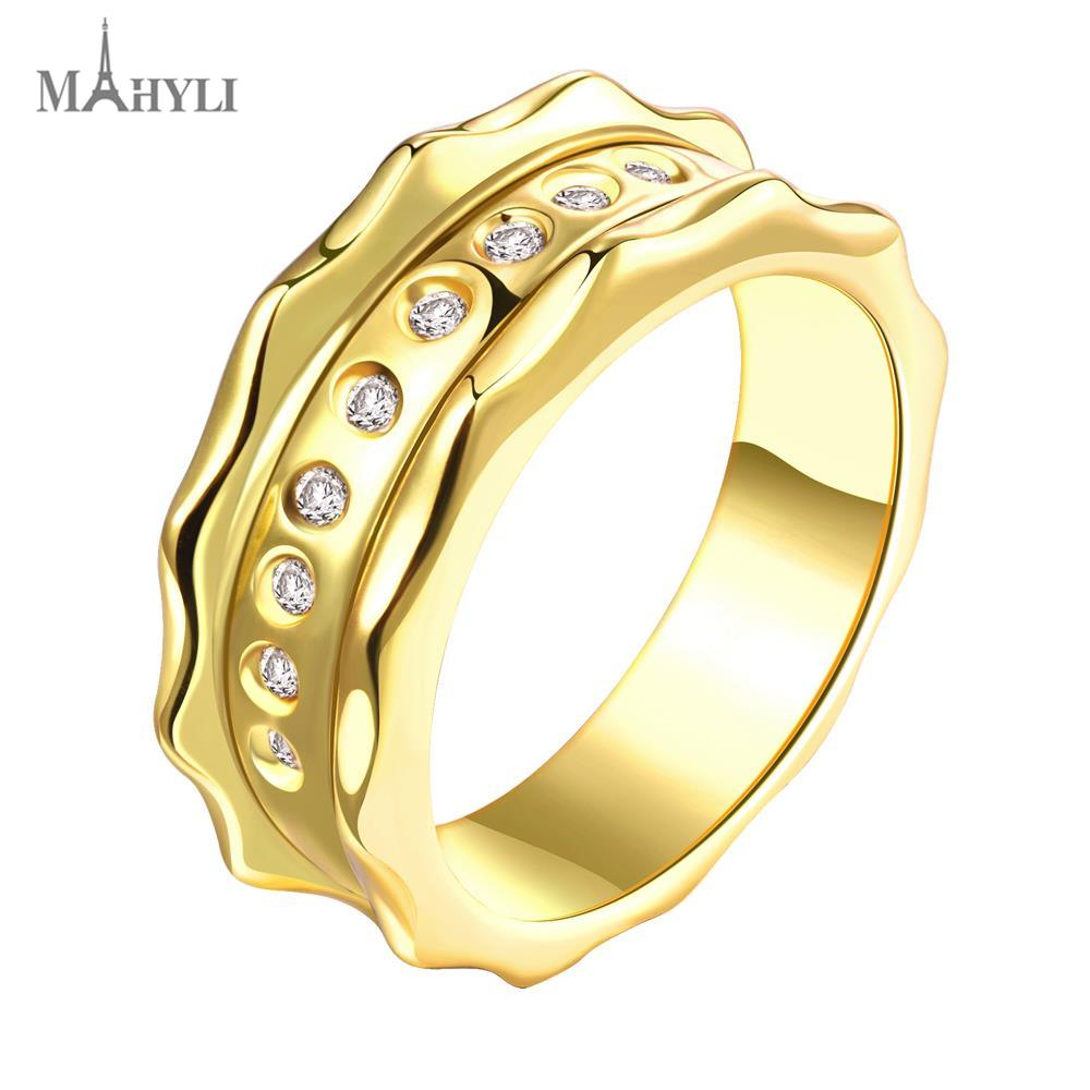 MAHYLIR Pure 18K Gold plated crystal simpel Rings for Women Stainless Steel Wedding Party Rings Jewelry love forever(China (Mainland))