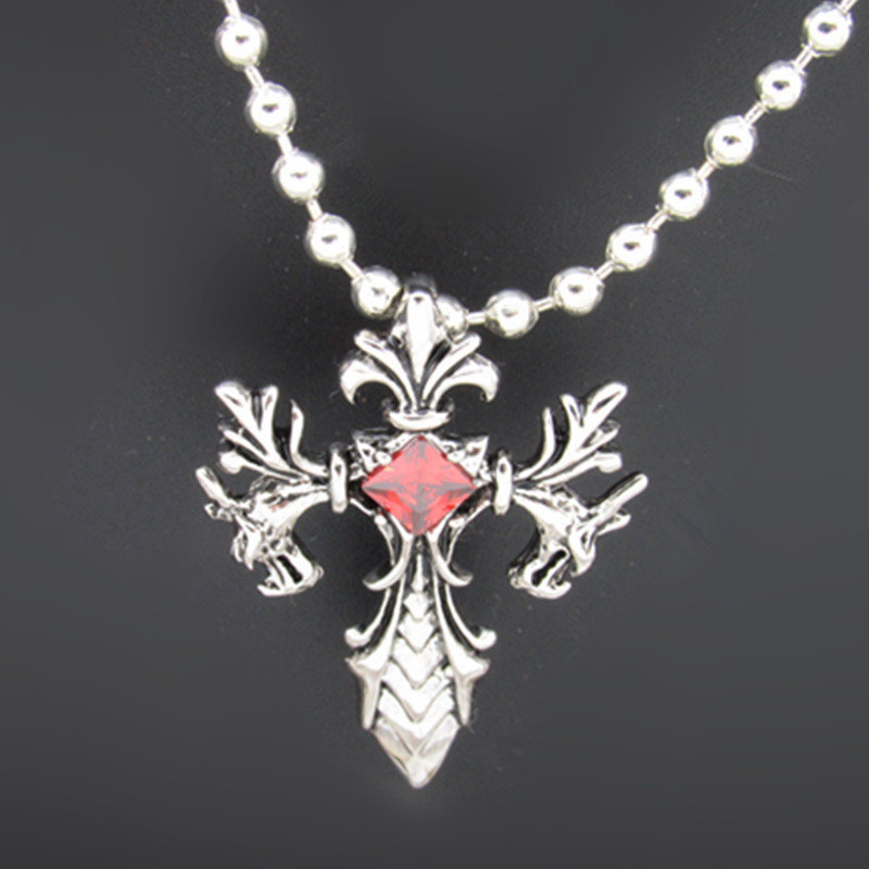 Retro men jewelry Zodiac Dragon Cross Pendant Necklace Free shipping(China (Mainland))
