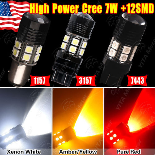 3 Colors 4Pcs/lot LED Car Lights 3157 7W +5050 12-SMD LED Turn Signal Brake Tail Light Bulbs HID White/Amber/Red Bulb Lamps(China (Mainland))