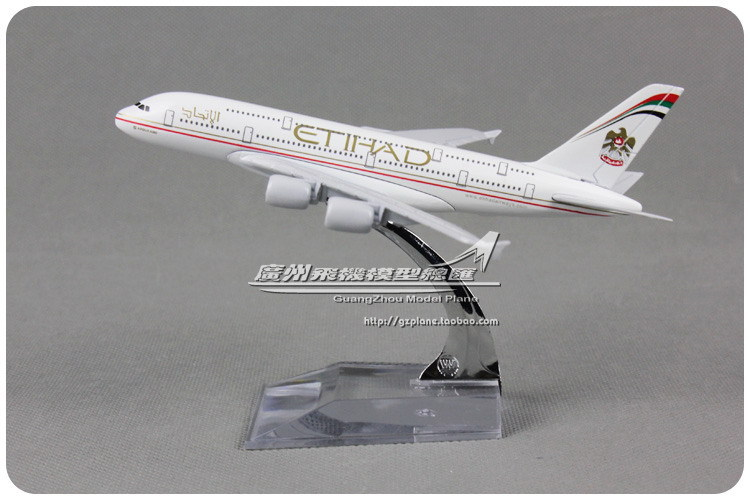 16cm Alloy Metal Air Etihad Airlines Plane Model Airbus A380 Airplane Model with Stand Toy Decoration Gift(China (Mainland))