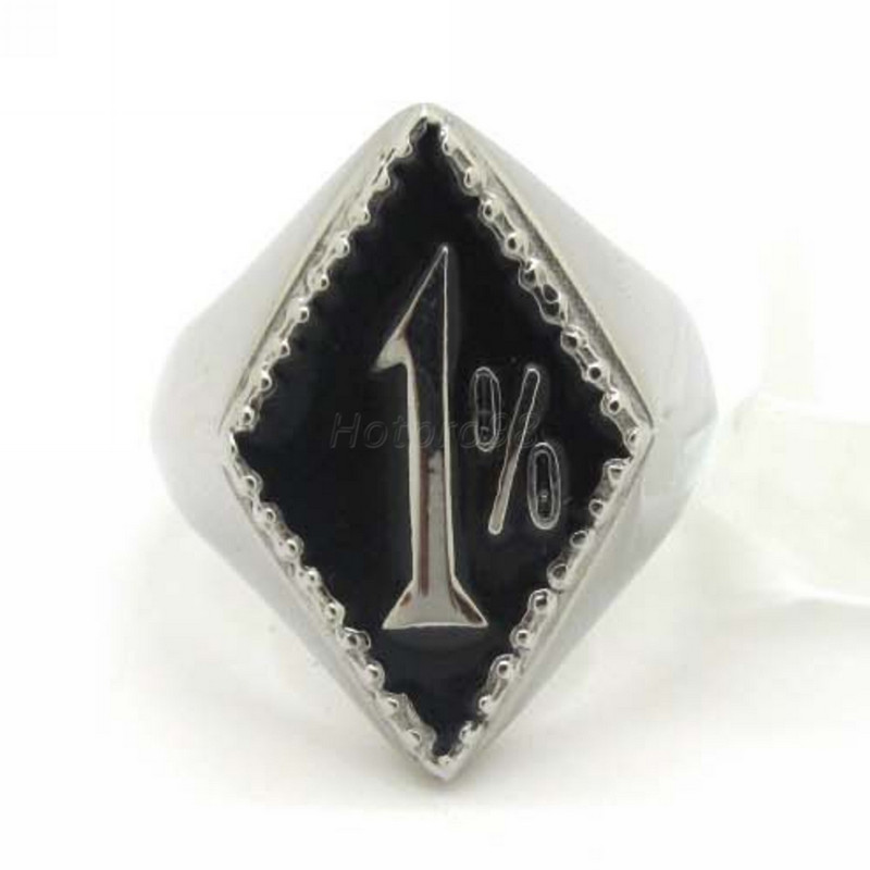 Black silver percent one 1 ring new design stainless for Biker jewelry stainless steel
