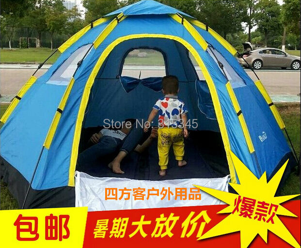 Hot sale 3-4 Person Quick-opening Automatic Camping Tent Opening Double Layer Outdoor Tent Rainproof Fishing Waterproof(China (Mainland))