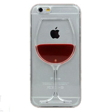Hot sale Red Wine Cup Liquid Transparent Case Cover For Apple iPhone 4 4S 5C 5 5S 6 6S 6 Plus All Models Phone Cases Back Covers(China (Mainland))