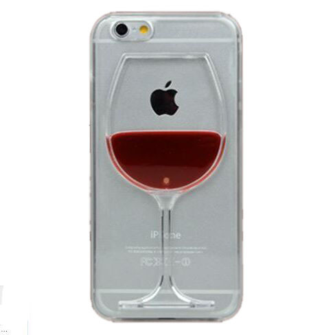 Hot sale Red Wine Cup Liquid Transparent Case Cover For Apple iPhone 4 4S 5 5S 6 6 Plus All Models Phone Cases Back Covers(China (Mainland))