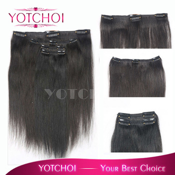 Yotchoi 1B# remy hair products clip in hair extensions 5wefts/set natural black colour  brazilian straight human hair extensions