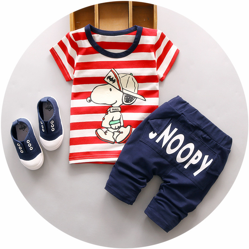 Baby Boy Summer clothing set 1 2 3 years old children sets cotton striped o-neck fashion style toolders 2pc suit A135(China (Mainland))