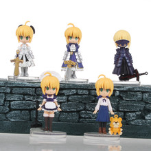 Anime 5.5CM Fate/stay night 5PCS/SET Saber Lily Q Version PVC Action Figure Toy Model Brinquedos Collectibles