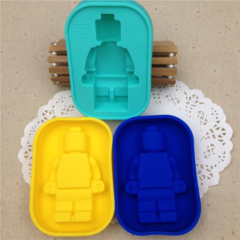 DIY Fondant Cake Decorating Tools 100% Foodgrade Silicone Lego Mold Super Big Robot Lego Cake Mold Ice Mold Baking Pan B273(China (Mainland))