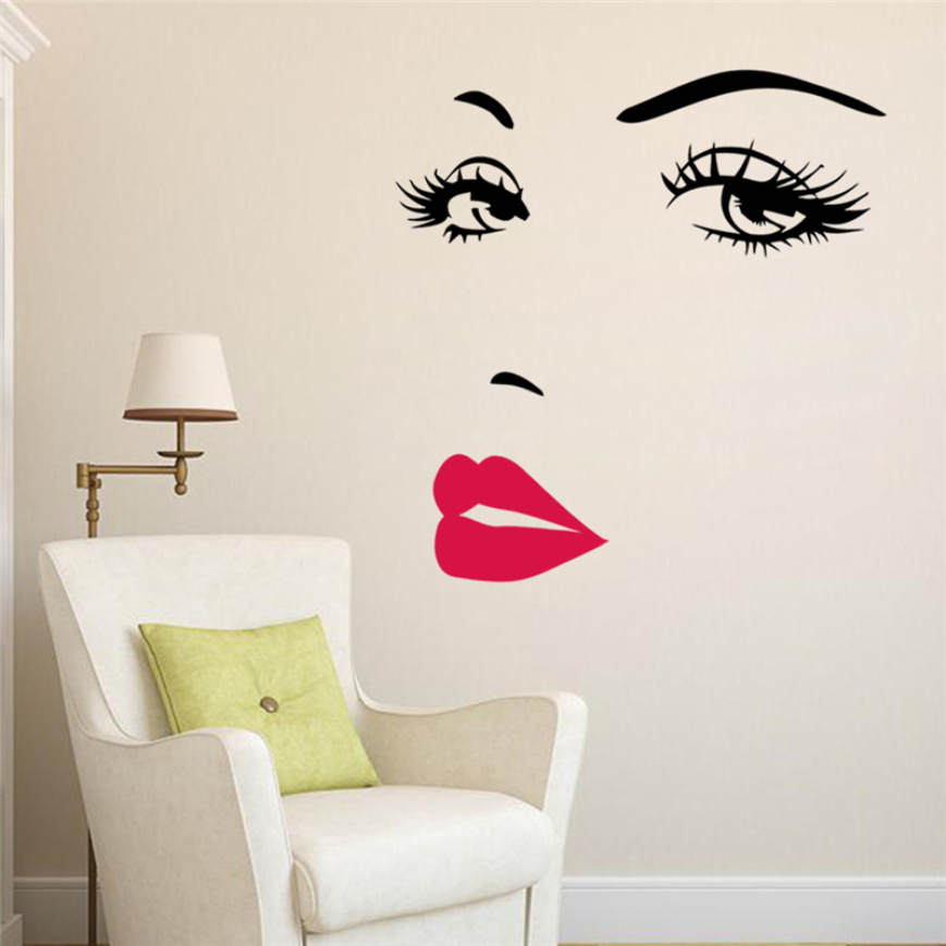 sexy girl lip eyes wall stickers living bedroom decoration diy vinyl adesivo de paredes home decals mual art poster home decor(China (Mainland))