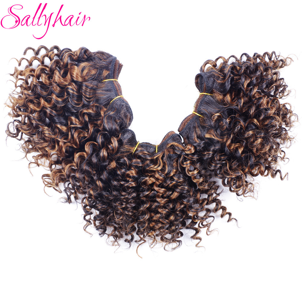 Sallyhair Ombre Color Afro Kinky Curly Crochet Hair Weave Mixed Black Burgundy Synthetic Hair Extensions 3pclot Hair Weavings  (16)