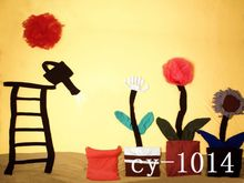 8x8FT Orange Wall Ladder Cloth Flowers Bag Cartoon Painting Newborn Baby Custom Photo Backgrounds Studio Backdrop Vinyl 10x10(China (Mainland))