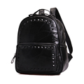 Korean Style Fashion Sheepskin Backpack Solid Color Patchwork Women Preppy Style Bag Designer Splicing Genuine Leather