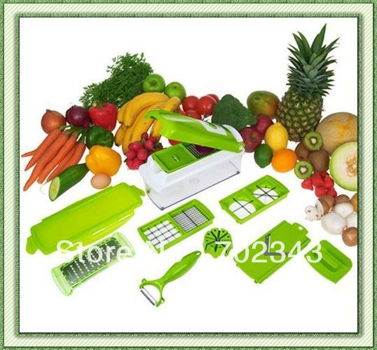 Vegetables Fruits Dicer Food Slicer Cutter Containers Chopper Peelers Set of 12 kitchen Tools(China (Mainland))