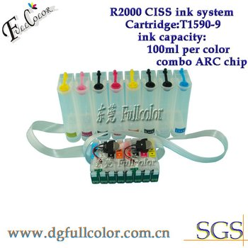 Free shiping  new arrival  R2000 ciss ink system with new combo reset chip for T159 ink cartridge ciss
